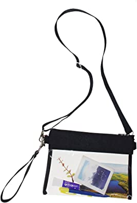 Gym Zippered Tote Bag Clear Gameday Bag with Adjustable Shoulder Strap and Wrist Strap for Work Sports Games GreenPine Clear Crossbody Purse Bag