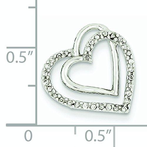 Or blanc 14 carats serti de diamants bruts pendentif Double coeur-JewelryWeb