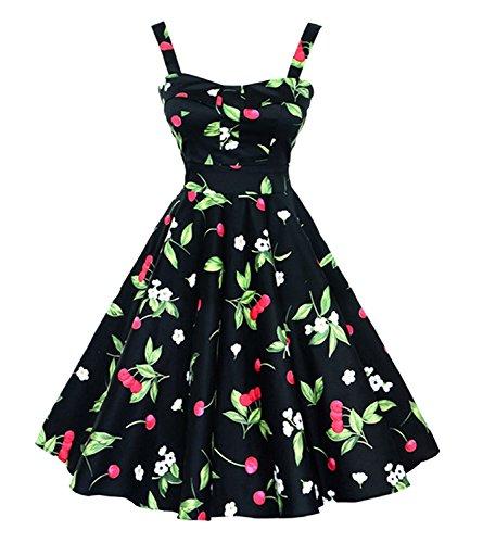 Killreal-Womens-1950s-Retro-Vintage-Cherry-Print-Summer-Casual-Swing-Dress