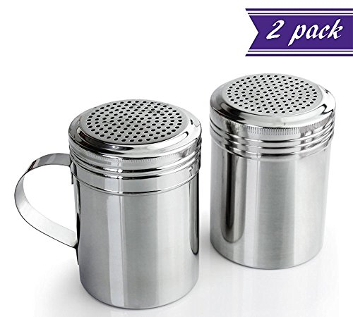 (Set of 2) 10 Oz Stainless Steel Dredge Shakers with Handles, Commercial Grade Dredges Ideal for Powdered Sugar, Flour, Chocolate, Cocoa, Spices, Versatile Dispensers, Professional Kitchen Utensils