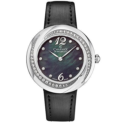 Charmex Women's Deauville 34mm Black Leather Band Steel Case Quartz Black MOP Dial Analog Watch 6372