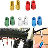 MonkeyJack 2 Pieces Anodized Aluminium Alloy Schrader Tire Rim Wheel Valve Stem Caps Dust Cover for Bike Bicycle Fixie MTB