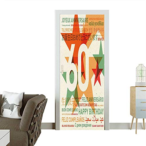 Homesonne Door Decals World Cities Birthday Party with Abstract Stars Green Vermilion and White Pressure resistantW38.5 x H79 INCH