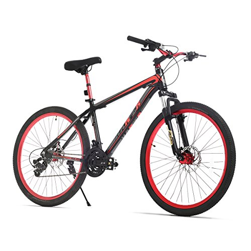 URSTAR 26' Aluminum 24 Speed Mountain Bike with Front and Rear Disc Brakes (Black&Red)
