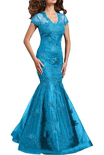Spitze Braut Blau mia Brautmutterkleider Lang Formal Kurzarm Abendkleider Ballkleider Damen La Festlichkleider Etuikleider Iwqxd7q