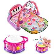 LeapFrog Learn and Groove Color Bilingual Play Drum Online Exclusive Pink, Fisher-Price Kick and Play Piano Gym Pink, Baby Music Toys, Interactive Games, Baby Play and Learn, Educational Gift Bundle