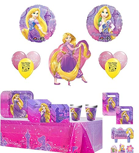 (Disney Tangled Deluxe Party Supply and Balloon Bundle)