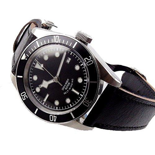 41mm Sapphire Glass 21 Jewels Miyota Automatic Movement Mechanical Men's Watch Black Dial Ceramic ()