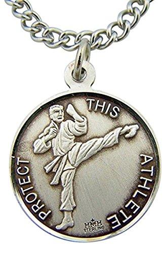 Sterling Silver Saint St Christopher Martial Arts Sports Athlete Medal Pendant, 15/16 Inch (Martial Arts Medal Pendant)