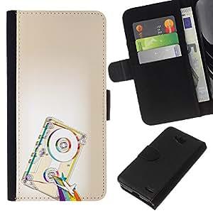 LECELL--Cuero de la tarjeta la carpeta del tirón Smartphone Slots Protección Holder For LG OPTIMUS L90 -- Psicodélico de la cinta del arco iris --