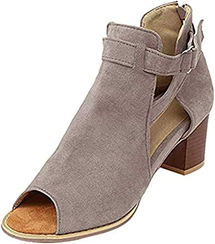 Ouvert Bloc Respirant 5 Starito Suède Ville Cheville Dames de Bottines Chaussures Marron Femme Bout à Bottes Chelsea Boots Noir 5cm TalonBoucle fgyYvb76