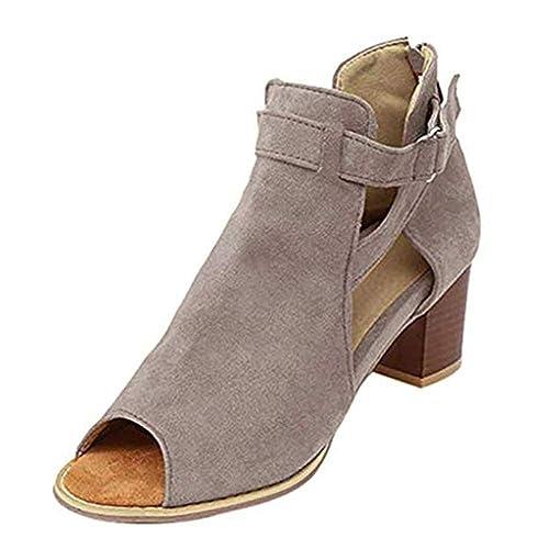 Zapatos De Ancho Zapatillas Vestir Hasp Tacón Mujer Con Tobillo Gris Grueso Negro Peep Toe 43 Sandalias Marrón 34 Correa lFc1JK