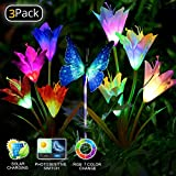 Solar Garden Lights LED Color Changing Solar Lights Outdoor Solar Powered Stake Decoration Flower Garden Lights for Garden, Patio, Backyard 3pack(2 Lilly Flowers and 1 Butterfly)