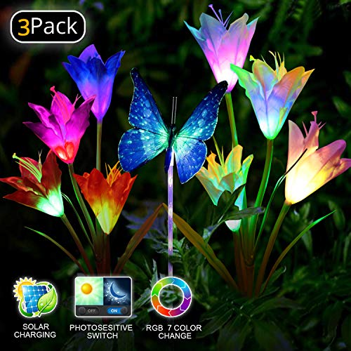 Solar Garden Lights LED Color Changing Solar Lights Outdoor Solar Powered Stake Decoration Flower Garden Lights for Garden, Patio, Backyard 3pack(2 Lilly Flowers and 1 Butterfly) by BuyFun