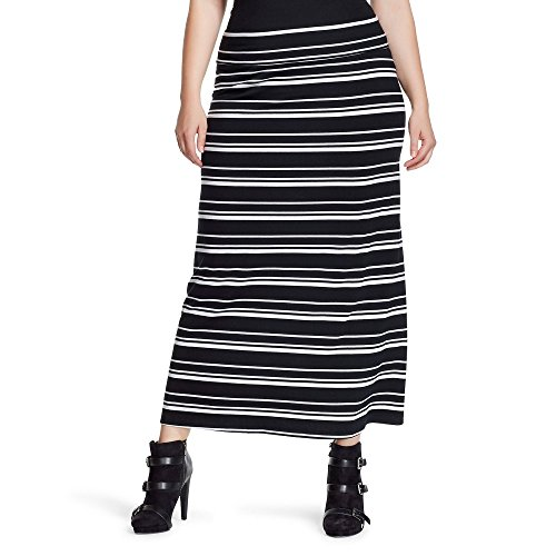 (Ava & Viv Women's Plus Size Knit Striped Maxi Skirt (1X (16W/18W), Ebony)