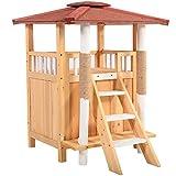 Tobbi Fir Wooden Cat House Bed Shelter Condo Indoor Outdoor Kitten Pet Furniture