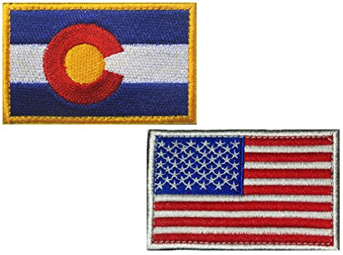HFDA 2 Piece US Flag and RW Colorado Flag Patches Velcro Mor