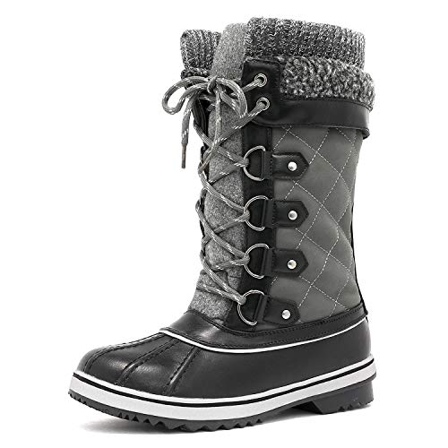 DREAM PAIRS Women's Monte_02 Grey Mid Calf Winter Snow Boots Size 8 M US (Best Winter Boots Review)