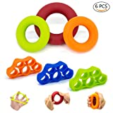 UJoylify Finger Exerciser, Hand Strengthener Grip Ring-Finger Stretcher Resistance Bands-6 Hand Finger Strength Trainer Set for Sports, Musicians,Physical Rehb,Hand Therapy,Stress Relief Grip Exercise