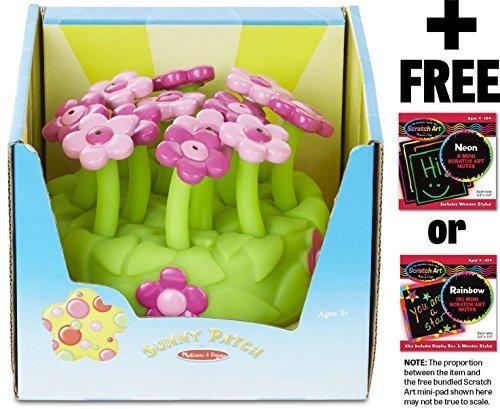 Melissa & Doug Pretty Petals Sprinkler: Sunny Patch Outdoor Play Series + FREE Scratch Art Mini-Pad Bundle [67157]