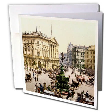 3dRose Russ Billington Designs- Old England Photographs - Piccadilly Circus- London Vintage Photograph - 6 Greeting Cards with envelopes (gc_255127_1)
