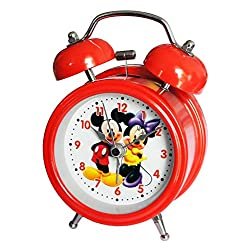 6025B Extremely Silent Children Cartoon Metal Twin Bell Alarm Clock 3 (Mickey and Minnie Mouse - Red)