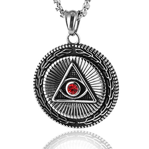 HZMAN Mens Stainless Steel Necklace Illuminati The All-Seeing-Eye Pyramid/Eye Symbol Pendant
