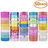 JANYUN 50 Rolls Glitter Washi Masking Tape Set,Great DIY Decor Scrapbooking Sticker Masking Paper Decoration Tape Adhesive School Supplies