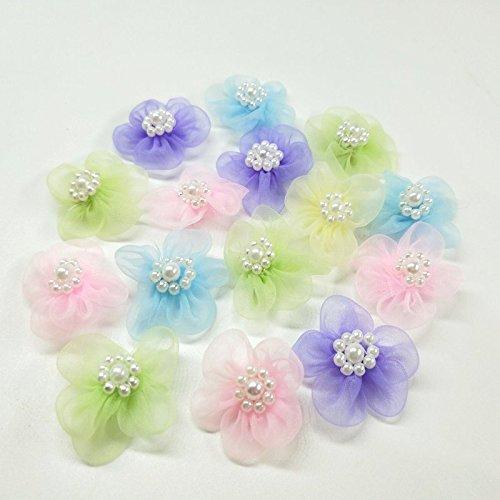 HANLV 30PCS Organza Pearl Ribbon Flowers Wedding Ornament Appliques DIY Sewing Crafts (Color E)