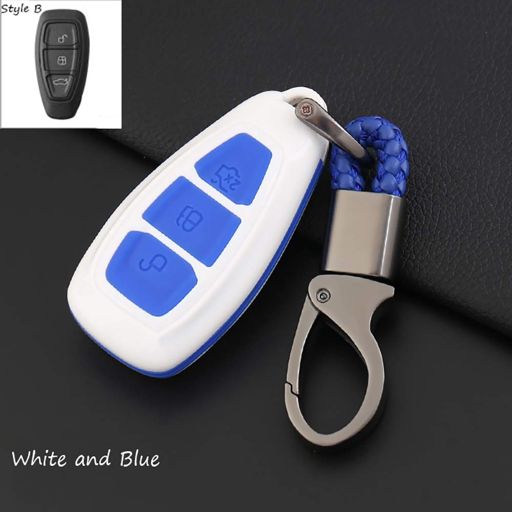 ontto for Ford Smart Key Cover Case Key Shell Remote Key Box Key Chain Key Ring Prevent Scratch and Falling Fits Ford Mondeo Focus 3 MK3 ST Kuga Fiesta Escape Ecosport Titanium Black and Blue