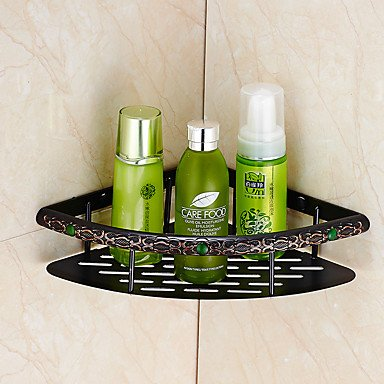 TY A Set of Four Products(Bathroom Shelf/Toilet Brush Holder/Toothbrush Holder/Towel Bar/Shower Basket) Of Oil Rubbed Bronze