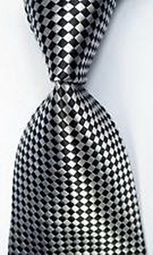 [MINDoNG Daily Checks Black White JACQUARD WOVEN Silk Men's Tie Necktie GAG # 32999] (James Bond Womens Costumes)