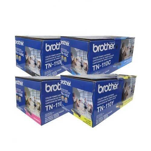Original Brother TN-110BK, TN-110C, TN-110M, TN-110Y (TN110BK, TN110C, TN110M, TN110Y) 1500~2500 Yield Black, Cyan, Magenta, Yellow Toner Cartridge 4 Pack Set – Retail, Office Central