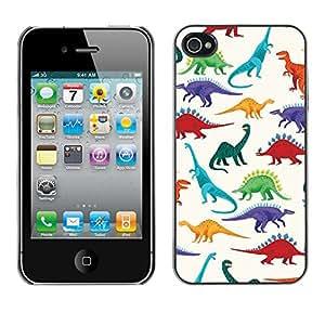 All Phone Most Case / Hard PC Metal piece Shell Slim Cover Protective Case Carcasa Funda Caso de protección para Apple Iphone 4 / 4S dinosaur pattern white saurus kids