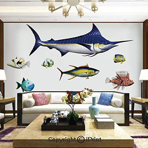 Lionpapa_mural Removable Wall Mural | Self-Adhesive Large Wallpaper,Different Fish Species in Pose Swodfish Clownfish Hawaiian Pacific Waters Fauna Decorative,Home Decor - 100x144 inches