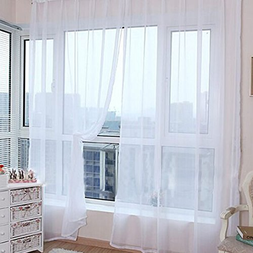 Wensltd 2pcs Set Leaf Sheer Window Screens Curtain 78 By 39 Inch (White)