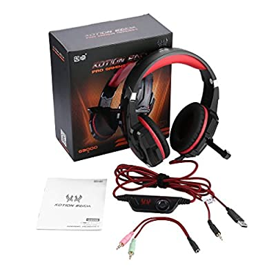 COMOTS Over-Ear Gaming Headset, 3.5mm Game Headphone Earphone with Microphone LED Light for Laptop Tablet Mobile Phones for PS4 G9000