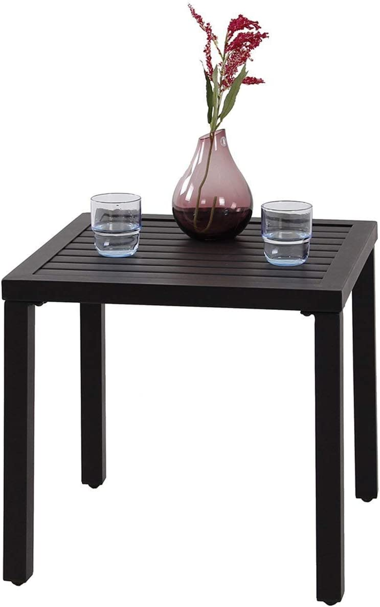 PHI VILLA Black Patio Table Metal Square Coffee Tea Bistro Table Small Side End Adjustable Outdoor Furniture Table,Black