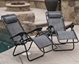 Winnett Zero Gravity Chaise Lounge With Cushion, Metal Frame, Weather Resistant, Set of 2, Grey
