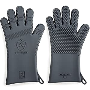 """Premium Silicone BBQ Gloves in Attractive Gift Box. 13.5"""" Long for Better Protection & Heat Resistant to 442 Degrees for Grilling & Smoking. Perfect Grill Gloves for Barbecue & Oven (Size: L, 1 Pair)"""