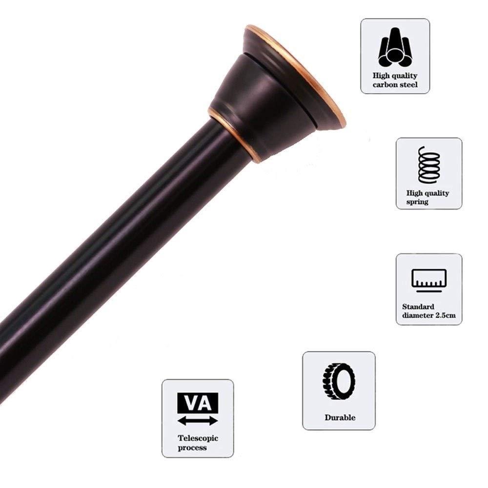 ZXL Duschvorhangschiene Farbe: Schwarz, Gr/ö/ße: 75-120cm Edelstahlstange ohne Bohren Teleskopstange Gardinenstange Moderne Duschvorhangstangen