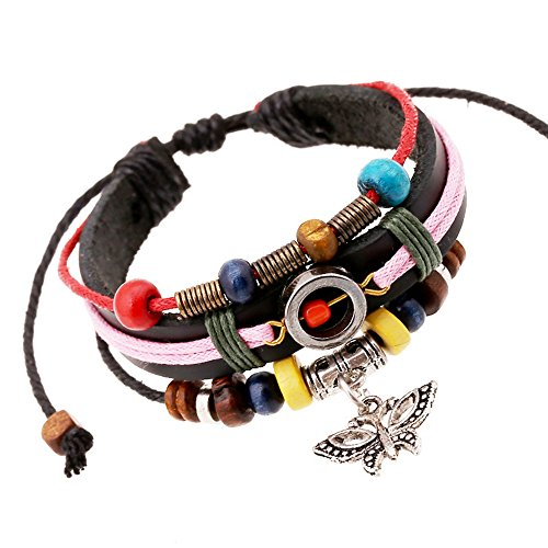 Ice King Costume Pattern (Victoria Echo Handmade Multilayer Colorful Beads String Leather Wrap Bracelet with Butterfly Charm)