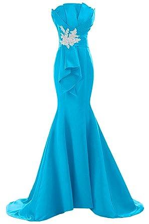 Sunvary Neu Mermaid Traegerlos Abendkleider Lang Satin Ballkleider  Partykleider-32-Blau