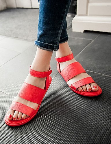 ShangYi Womens Shoes Leatherette Flat Heel Mary Sandals Office & Career / Party & Evening / Dress / Casual Black / Red Red