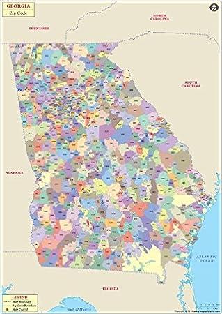 Georgia Zip Code Map Amazon.: Georgia Zip Code Map   Laminated (36
