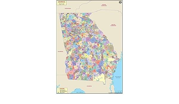 Amazon com : Georgia Zip Code Map - Laminated (36