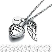 Always in my heart Pendant with 26 Alphabets Initial Necklace Cremation Memorial Jewelry Angel Wing Ash Holder Urn Necklace