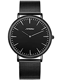 Mens Slim Quartz Watch Black Ultra Thin Minimalist Wrist Watch with Stainless Steel Milanese Band and Analogue Display