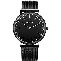 SINOBI Mens Slim Quartz Watch Black Ultra Thin Minimalist Wrist Watch with Stainless Steel Milanese Band and Analogue Display