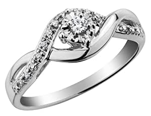 Diamond Infinity Engagement Ring and Wedding Band set 1/10 Carat (ctw) in Sterling Silver, Size 4.5